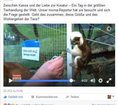 Wie Tierrechtler auf Facebook abdrehen Screenshot Facebook Seite ARD Morgenmagazin