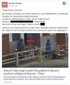 Silke Ruthenberg von Animal Peace veröffentlicht Adresse aus Strafanzeige von PeTA / Screenshot Facebook 29.05.2017