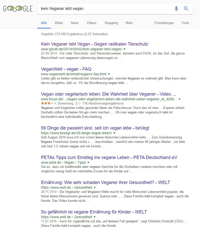 Kein Veganer lebt Vegan / Screenshot Google
