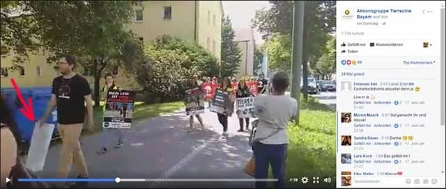 Gänzlich überzeugter Tierrechtler? / Screenshot Facebook Video Aktionsgruppe Tierrechte Bayern