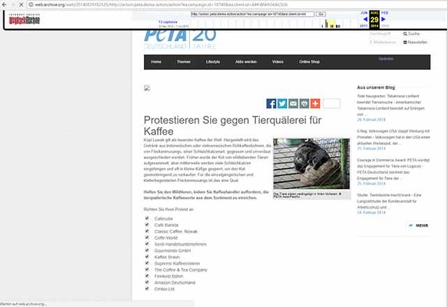 Silvio Harnos & DELMEO verschwanden von PeTA´s illegaler Prangerliste / Sreenshoot: http://web.archive.org/web/20140829182520/http://action.peta.de/ea-action/action?ea.campaign.id=18740&ea.client.id=44#.WWh5K4iLSUk