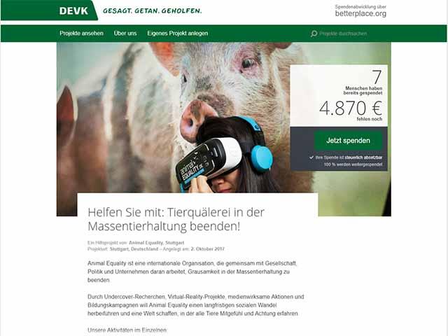 DEVK sammelt Spenden für Straftäter / Screenshot