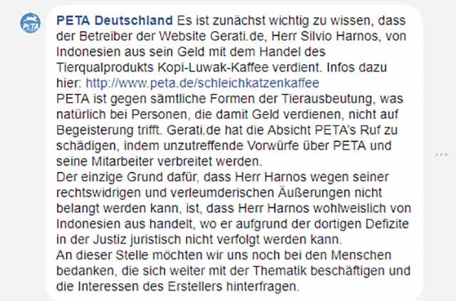 Gegenargumentation: GERATI vs. PeTA / Screenshot Facebook