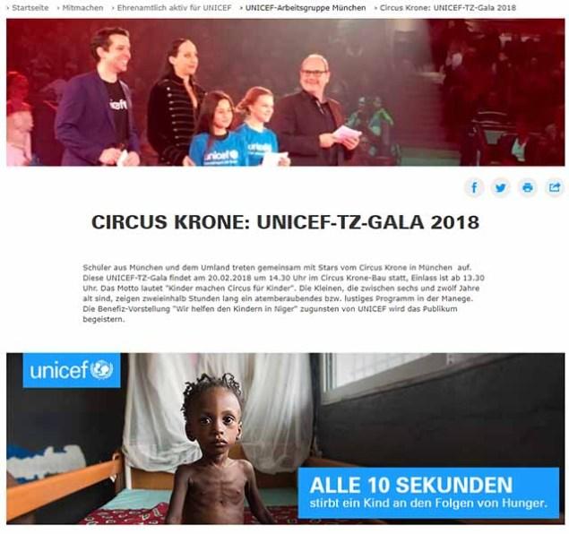 Screenshot UNICEF.de Spendengala beim Circus Krone / https://www.unicef.de/mitmachen/ehrenamtlich-aktiv/-/arbeitsgruppe-muenchen/circus-krone--unicef-tz-gala-2018/158330