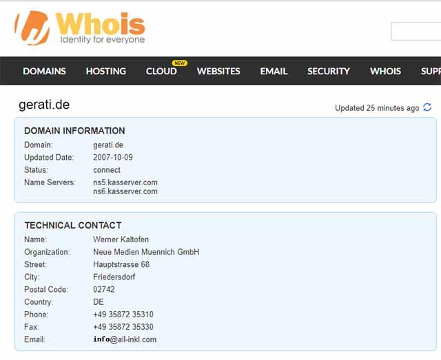 Screenshot: whois.com
