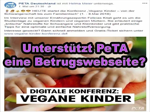 Unterstützt PeTA eine Betrugswebseite?