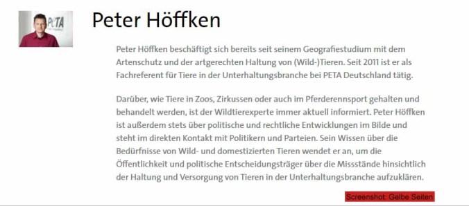 Wo ist denn nun das Diplom vom Fachreferenten Peter Höffken? / Screenshot: Gelbe Seiten