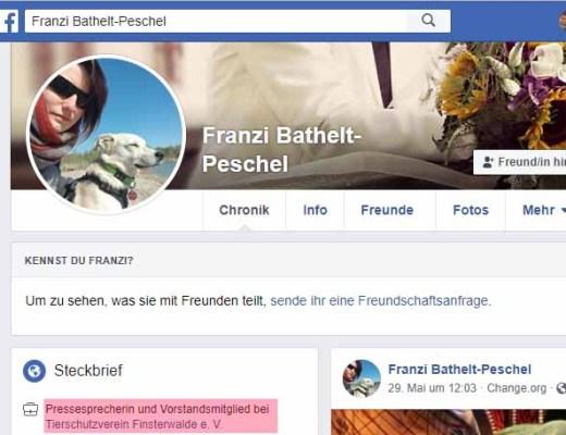 Tierrechtsvereine sind niemanden Rechenschaft schuldig, so die Meinung von Franzi Bathelt-Peschel / Screenshot Facebook