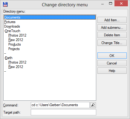 Configuring the directory menu