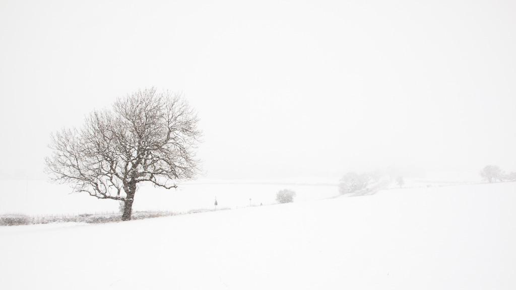 Fellside Road in the snow