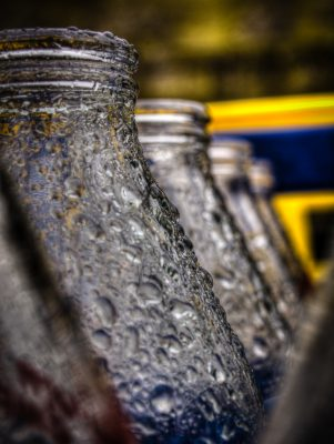 Milk Bottles in the Rain