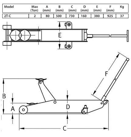 Compac 2T-C Garagekrik met 2 Ton Capaciteit
