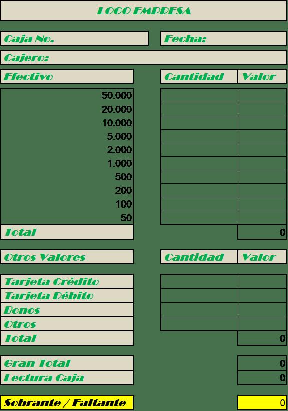 Formato de Cuadre de Caja