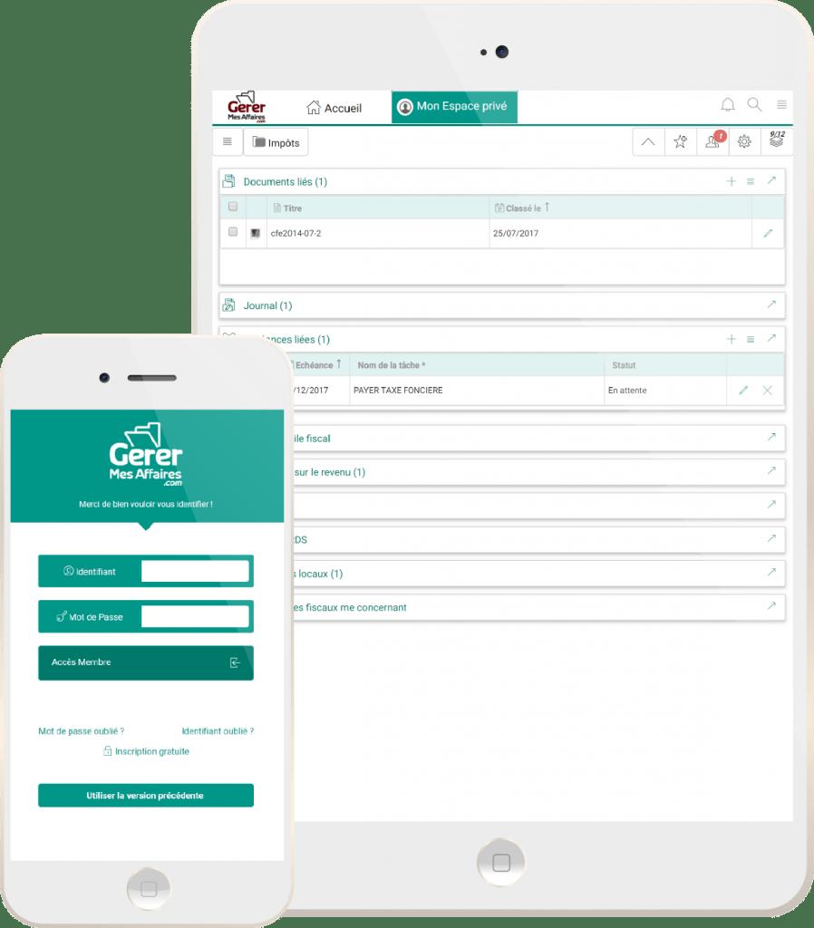 écran mobile du bureau numérique GererMesAffaires.com