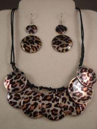 Cheetah/Leopard Animal Print, Set of Necklace & Earrings ...