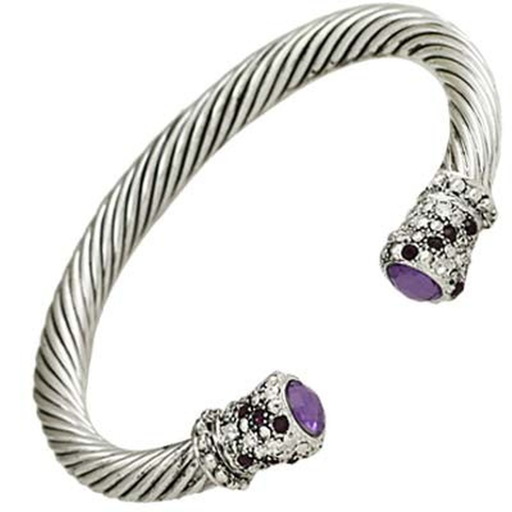 Designer S Touch Purple Amethyst Cuff Bracelet Twisted