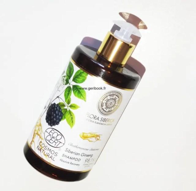 shampoing bio ginseng flora siberica ecocert.