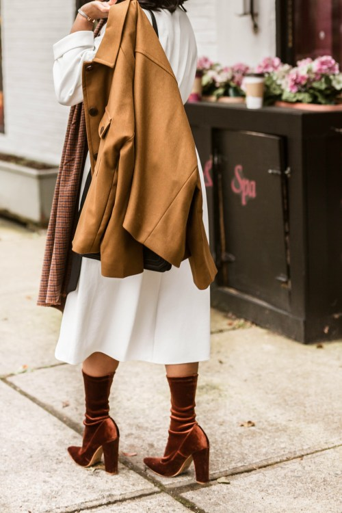 How to style a white dress for the fall.