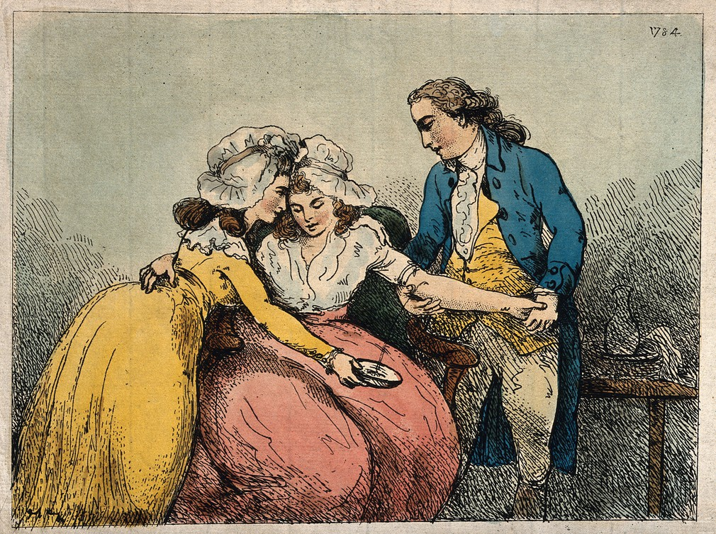 Bloodletting - a surgeon bleeding the arm of a young woman