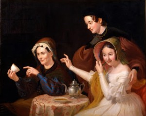 Painting by William Sidney Mount from 1838 of a Tea Leaf Reading at a Halloween Party, Public Domain