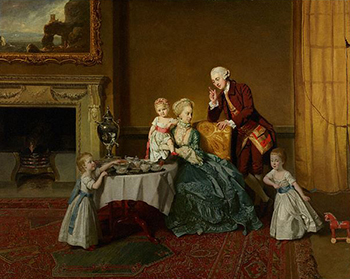 John, Fourteenth Lord Willoughby de Broke, and his Family at Tea, Tea times in Great Britain