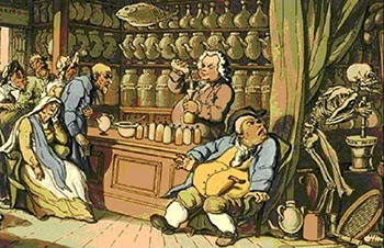 "Medical blistering - Thomas Rowlandson's ""Death athe the Apothecary or the Quack Doctor."""