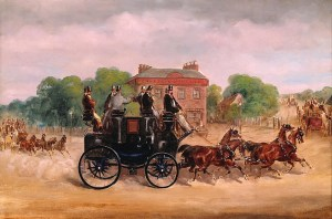 Four Horse Club: Drags of the Four-in-Hand Club passing Five Bells Tavern, New Cross, with Mr Holroyd, Lord Lonsdale and the Duke of Sutherland on the box of the drag in the foreground. Public Domain