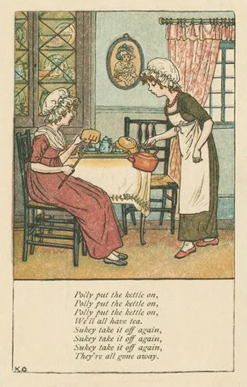 """Polly Put the Kettle On"" is an Old English Nursery Rhyme Published in 1803, Courtesy of New York Public Library"