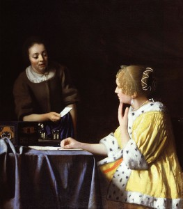 Lady's Maid by Johannes Vermeer, Courtesy of Wikipedia