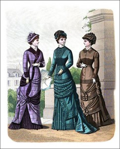 (Left to Right) Mignon Costume, Carriage Costume, and Mérode Promenade Costume, Author's Collection