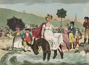 Woman on a Donkey with her Parasol Early 1800s, Courtesy of Library of Congress