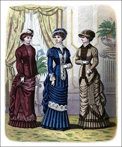 (Left to Right) Promenade Costume, Percy Visiting or Carriage Costume, and Hilda Promenade Costume, Author's Collection