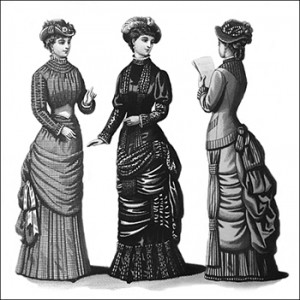 (Left to Right) Aberdeen Morning Costume, Reception Toilette, and Grace Promenade Costume, Author's Collection