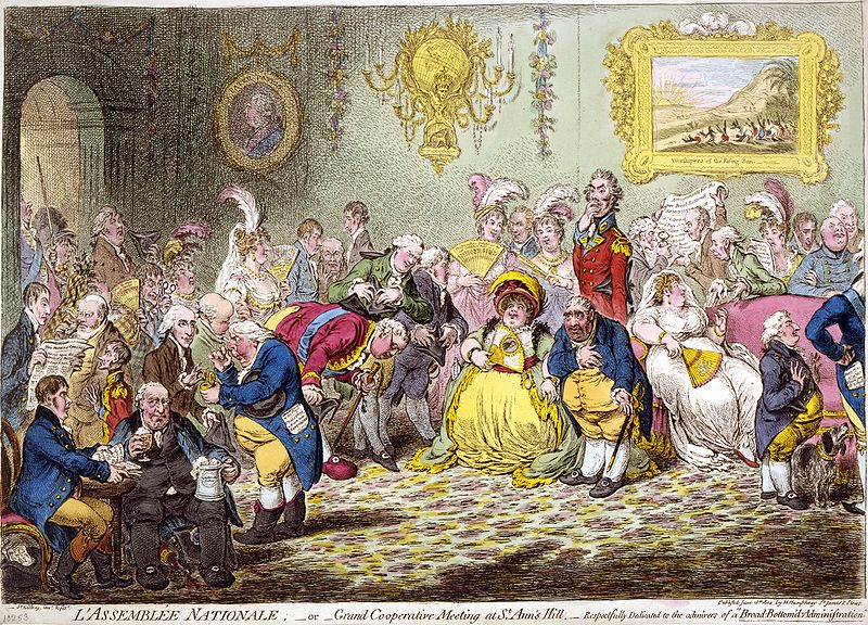 "L'Assemblée Nationale (1804) was called ""the most talented caricature that has ever appeared,"" partly due to its ""admirable likenesses"" of the assembly. The Prince of Wales paid large sums of money to have it suppressed and its plate destroyed. Courtesy of Wikipedia"