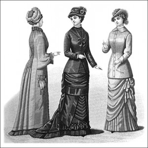 (Left to Right) Mother Hubbard Mantle, Black Silk Dress, and Traveling Costume, Author's Collection