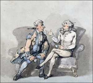 French Valet and English Lackey by Thomas Rowlandson, cheating valets