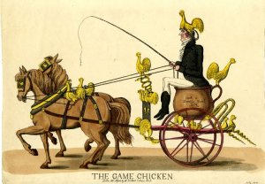 """Caricature of Robert """"Romeo"""" Coates Driving a Grotesque Curricle Inscribed with 'Cock a Doodle Doo!', Courtesy of the British Museum"""