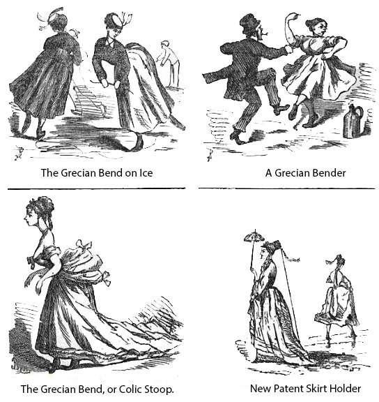 Various Grecian Bend Fashions, Public Domain