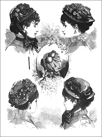 (Left to Right and Top to Bottom) Favorite Capote, Jenny Hat, Henry III Baby Hat, Sylvia Bonnet, and Regina Leghorn Bonnet, Author's Collection