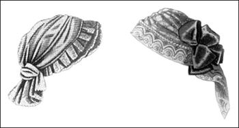 Millinery Fashions: Winter Caps of Foulard Trimmed with Lace, Author's Collection