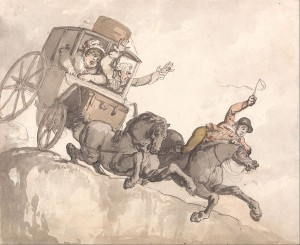 The Runaway Coach by Rowlandson, Carriage Accidents