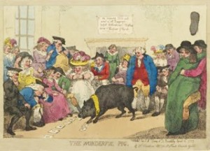 The Wonderful Pig by Thomas Rowlandson, Public Domain