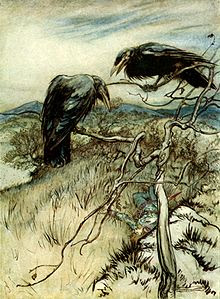 Illustration of Two Corbies by Authur Rackham in 1919, Courtesy of Wikipedia