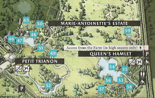 Map Showing Location of Queen's Hamlet at Versailles (53 is the Queen's House, 54 Marlborough Tower, 55 Dairy, 56 Mill, 57 Boudoir, 58 Réchauffoir, and 59 Farm