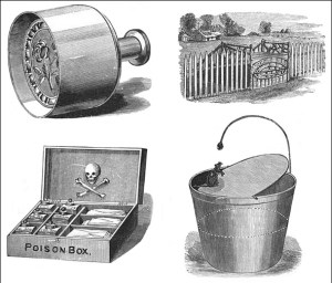 Victorian Conveniences: Butter Mold, Carriage Steps, Poison Box, and Rodent Trap, Public Domain