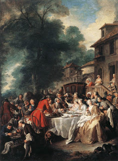 Marie Antoinette hunting - Le Repas de Chasse, (Hunting Meal) by Jean François de Troy in 1737, Courtesy of Wikipedia