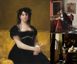 Stolen Paintings from the Beit Collection, Goya's (left), Metsu's (top right), Vermeer's (bottom right), Public Domain
