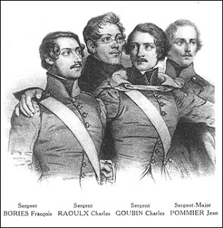 Postcard Illustration of the Four Men, (left to right) Bories, Raoulx, Goubin, and Pommier, Public Domain