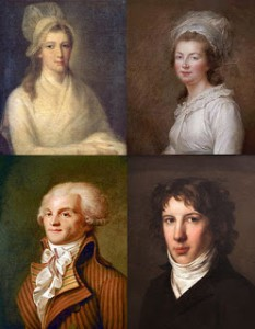 (Top to Bottom and Left to Right) Charlotte Corday, Madame Élisabeth of France, Maximilien Robespierre, and Louis Antoine Léon de Saint-Just, Public Domain