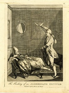 The finishing of an Alderman's picture. The lover adding horns to her husband's portrait watched by the wife lying on a bed. January 1773. © The Trustees of the British Museum